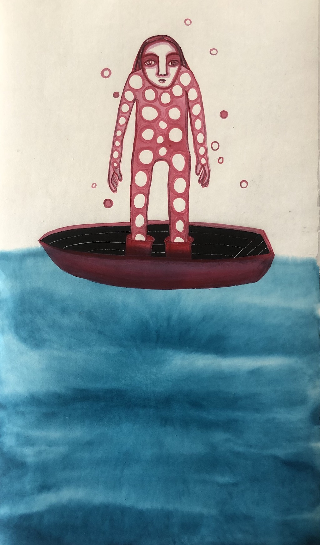 """"""" On the road again """" Ink and Acrylic on Rice Paper 46 X 26,5 cm cm"""