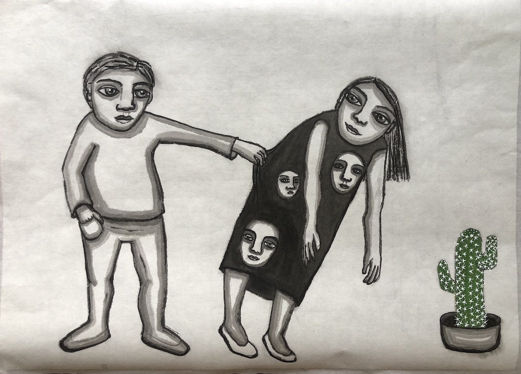 """""""Don't worry baby everything is going to be alright"""""""" Ink and Acrylic on Rice Paper 31 X 43 cm"""
