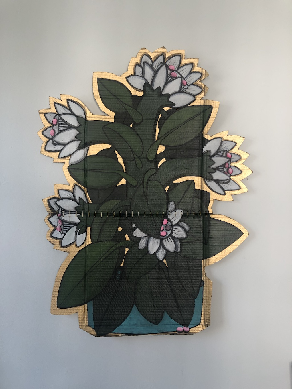 """ Flowers "" Acrylic on Cardboard 68 X 90 cm"