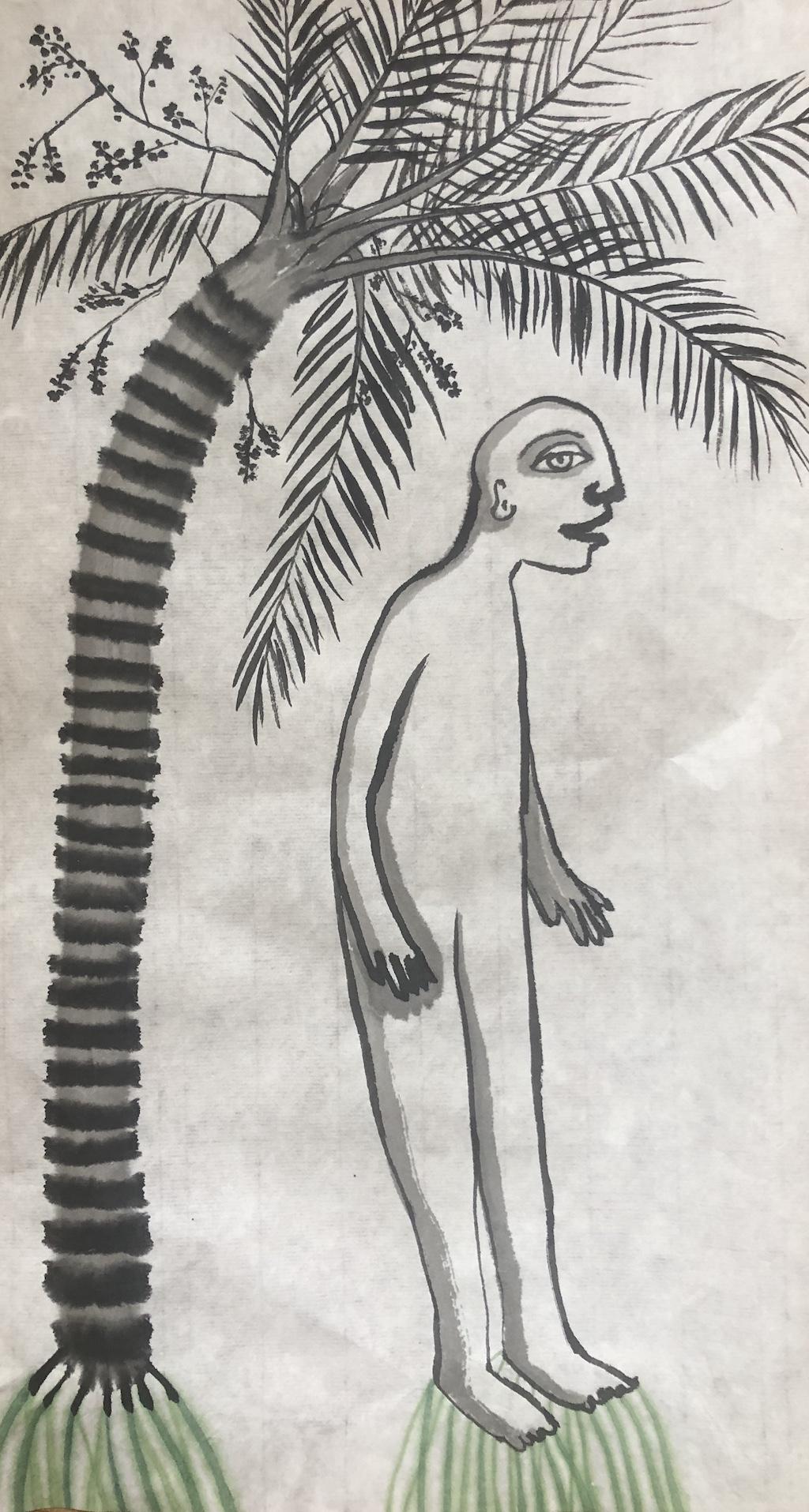 """ Je prends racines "" Ink on Rice Paper"