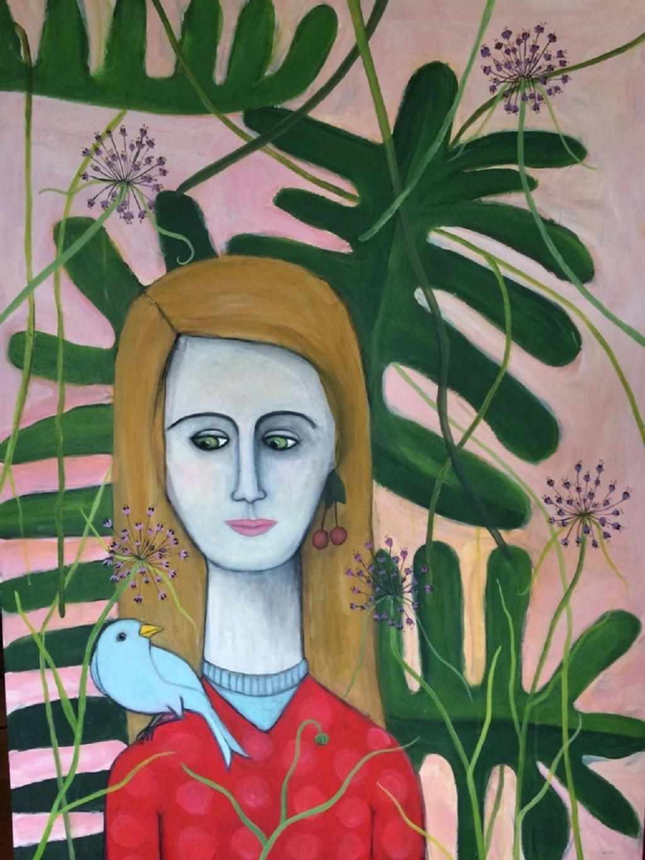 """I have got a blue bird on my Shoulder"" Acrylic on board by Juliette Lepage Boisdron"