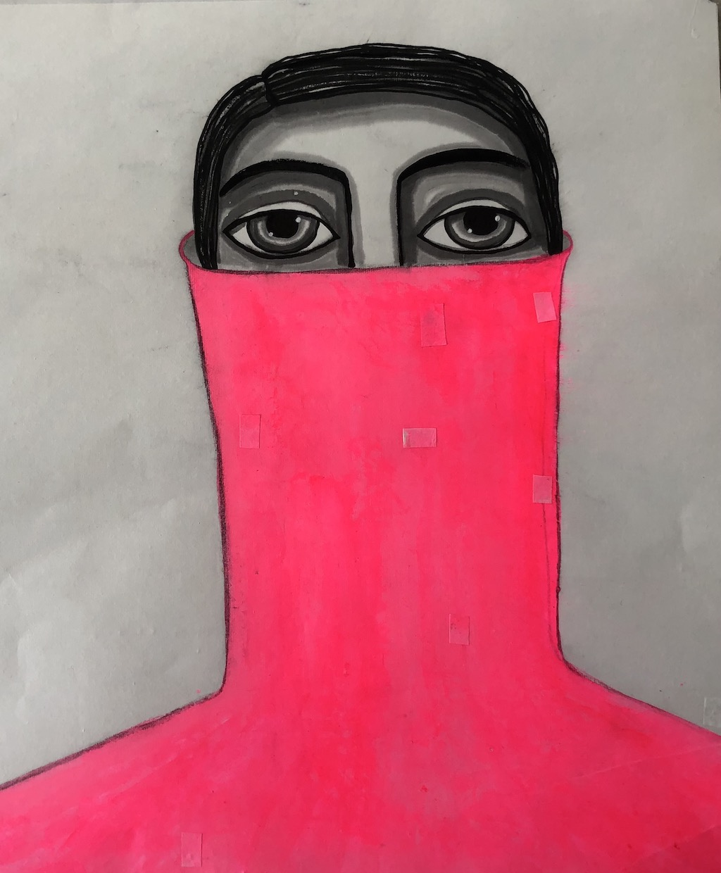 """""""I feel pink"""" Ink and acrylic on rice paper 35 X 41 cm"""