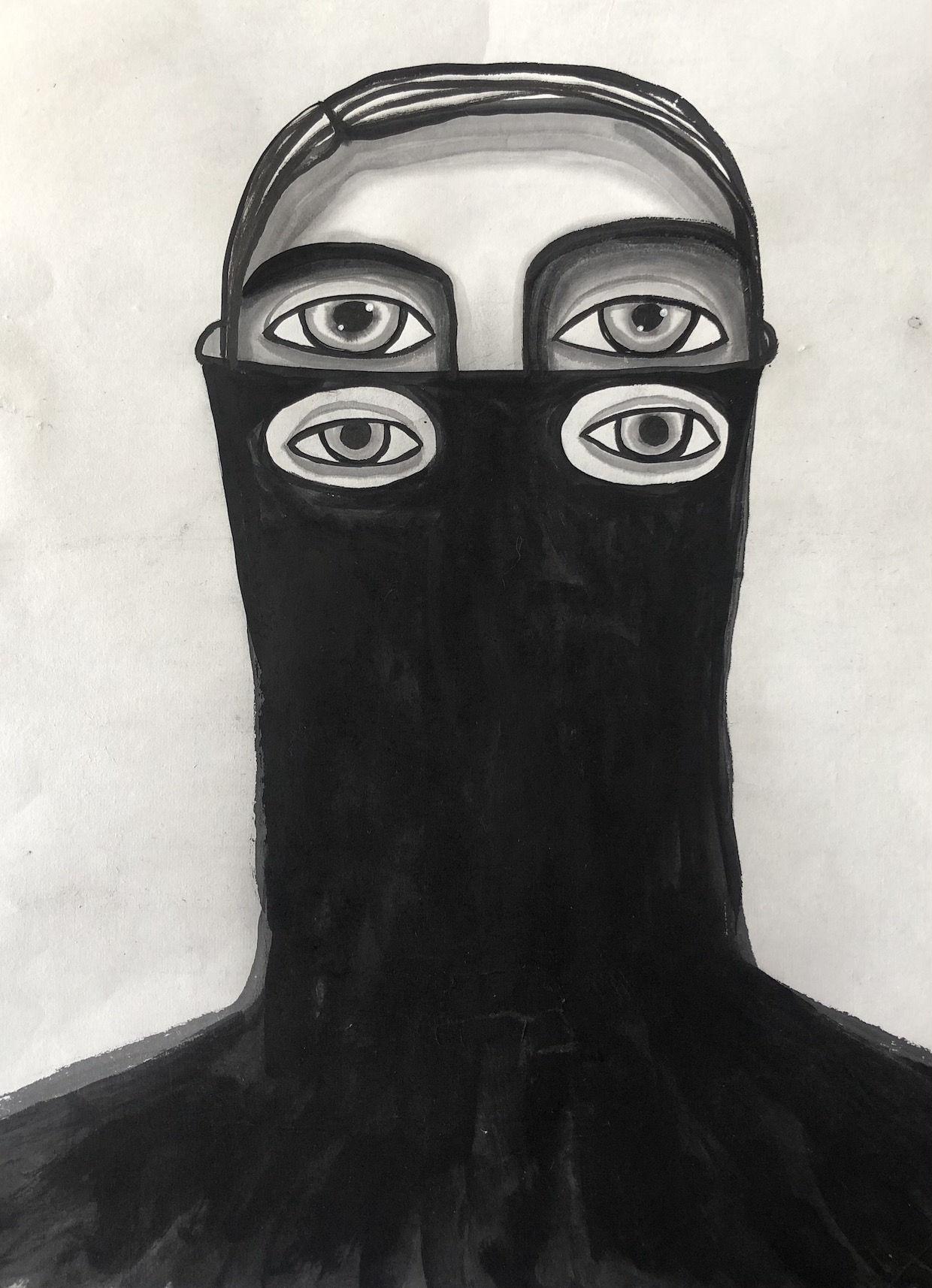 """J'avance masquée"" Ink on rice paper"