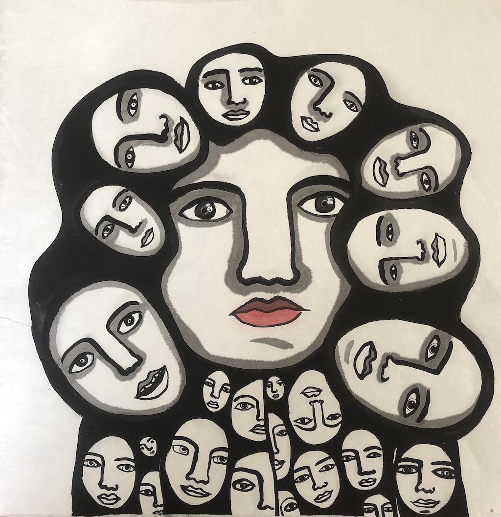 """""""Tête á tête"""" Ink on rice paper 35 X 35 cm"""